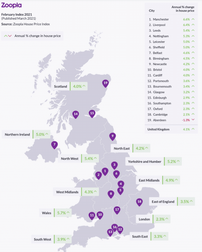 map showing each region of the UKs price increase over the last 12 months